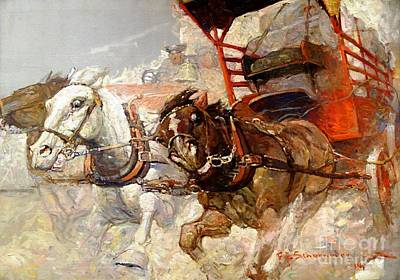 0 Painting - Runaway Horses by Pg Reproductions