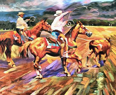 Working Cowboy Painting - Runaway by Studio Artist