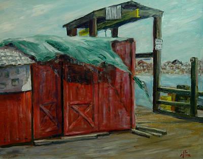 Wells Harbor Painting - Runaway Tarp by Aline Lotter