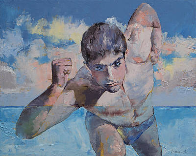 Running Man Painting - Runner by Michael Creese