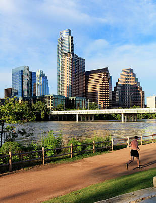 Lady Bird Lake Photograph - Runner On Path Along South Shore by Panoramic Images