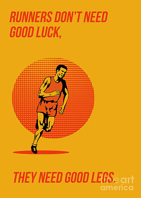 Triathlete Digital Art - Runner Running Marathon Poster by Aloysius Patrimonio