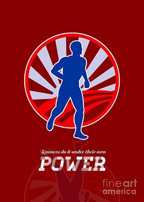Runner Running Power Retro Poster Art Print by Aloysius Patrimonio