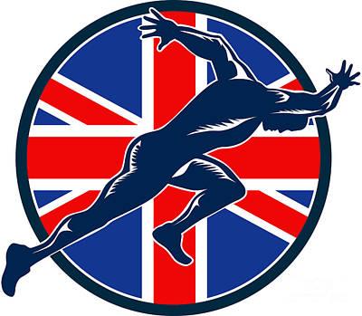 Runner Sprinter Start British Flag Circle Art Print by Aloysius Patrimonio