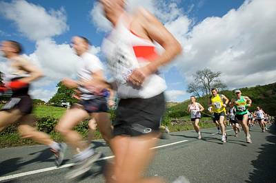Runners In The Windermere Marathon Art Print by Ashley Cooper