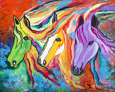 Running Against The Wind Art Print by Janice Rae Pariza