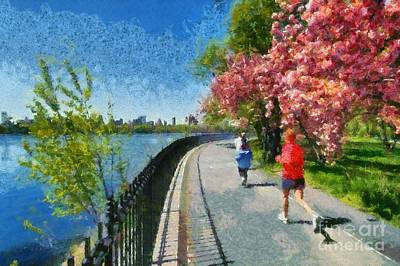 Painting - Running Around Reservoir In Central Park by George Atsametakis