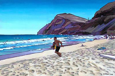 Running At Makapuu Art Print by Douglas Simonson