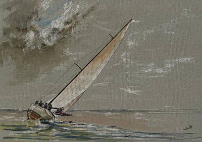 Classic Marine Art Painting - Running Away From The Storm by Juan  Bosco
