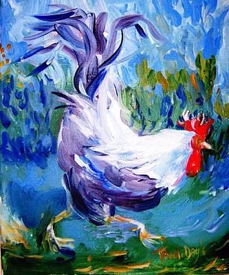 Running Cockerel Art Print by Trudi Doyle