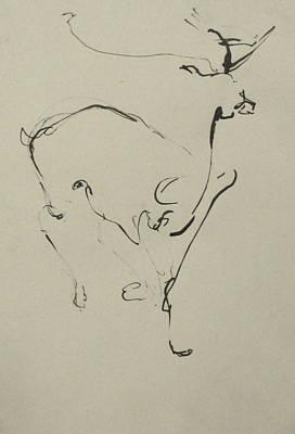 Ink Drawing - Running by Cynthia Harvey