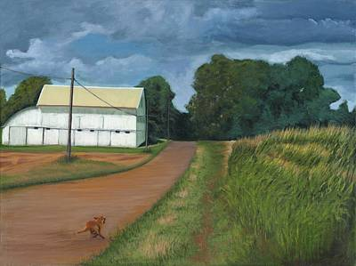 Turbulent Skies Painting - Running Dog by Ken Messinger-Rapport