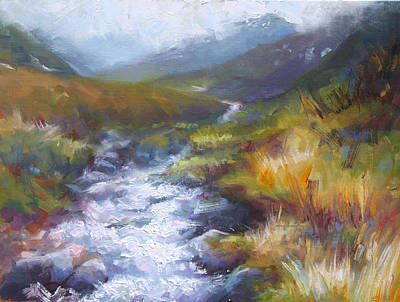 Zorn Painting - Running Down - Landscape View From Hatcher Pass by Talya Johnson