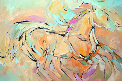 Horse Art Pastels Painting - Running Free by Filomena Booth