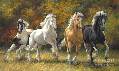 Horse In Autumn Painting - Running Free by Laurie Hein