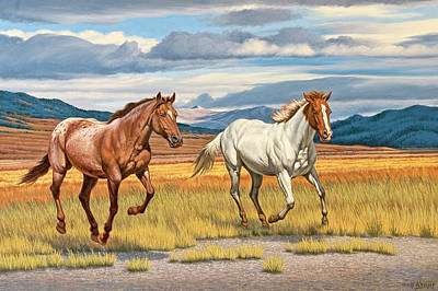 Montana Landscape Painting - Running Free by Paul Krapf