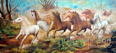 Lukisan Kuda Painting - Running Horses by Edy Sutowo