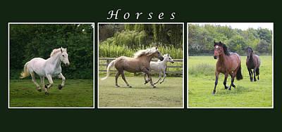 Caption Digital Art - Running Horses by Martin  Fry
