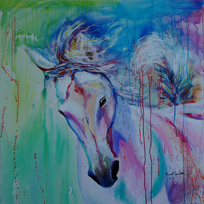 Thoroughbred Drawing - Running In Shades Of Pink And Blue by Isabel Salvador
