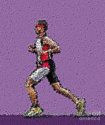 Triathlon Painting - Running In The Zone by Sergio B