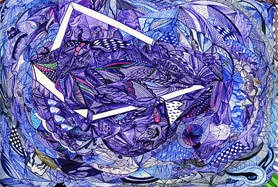 Ball Point Pen Painting - Running Out Of The Box by Alexandra Art