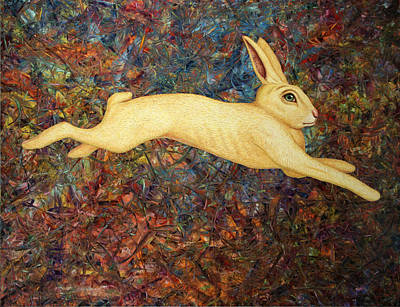 Rabbit Painting - Running Rabbit by James W Johnson
