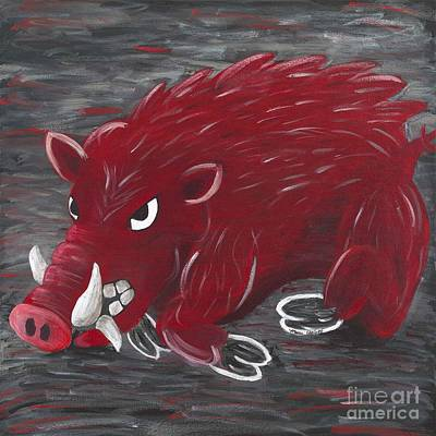 University Of Arkansas Painting - Running Razorback by Mona Elliott