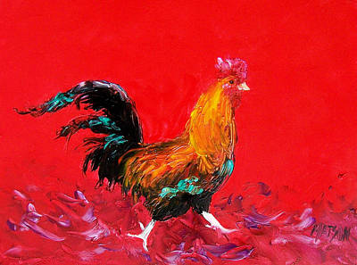 Rooster Painting - Little Brown Rooster  by Jan Matson