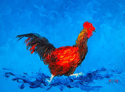 Running Rooster On Blue Background Art Print by Jan Matson