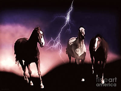 Lightning D Digital Art - Running Scared by Barbara D Richards