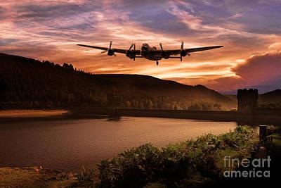 Howden Reservoir Digital Art - Running The Dam  by J Biggadike