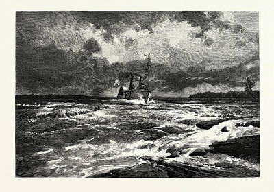 Lachine Drawing - Running The Lachine Rapids, Canada by Canadian School
