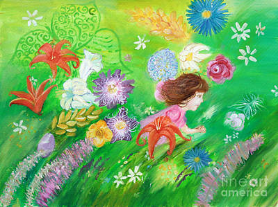 Painting - Running Through A Field Of Flowers by Anne Cameron Cutri