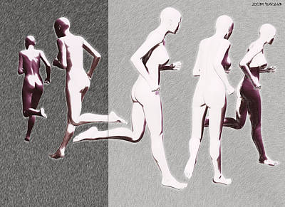 Nudes Digital Art - Running Towards Away M V 1 by Sir Josef - Social Critic -  Maha Art