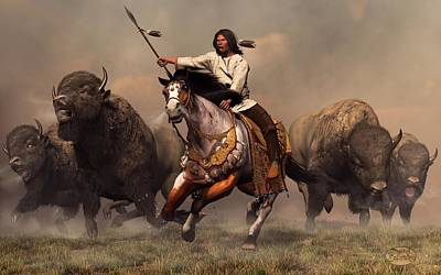 Apache Digital Art - Running With Buffalo by Daniel Eskridge