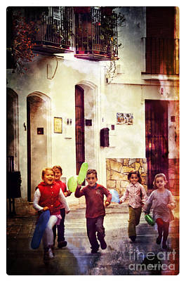 Cobblestone Streets Digital Art - Running With Joy by Mary Machare
