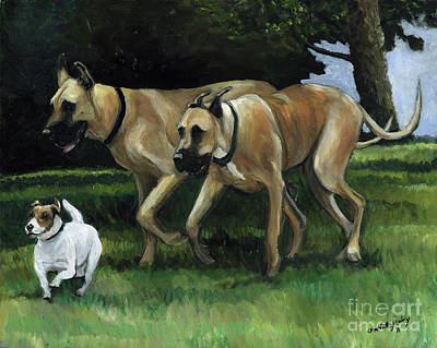 Great Dane Oil Painting - Running With The Big Boys by Charlotte Yealey