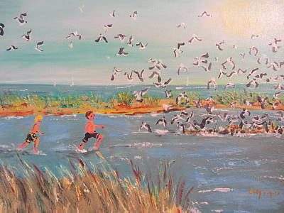 Running With The Gulls Art Print