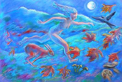 March Hare Painting - Running With The Hare by Trudi Doyle