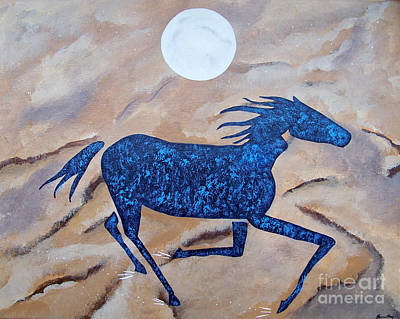 Running With The Moon Art Print