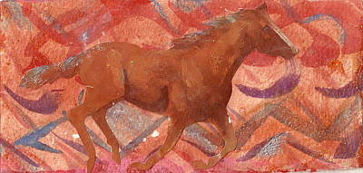 Abstract Horses Mixed Media - Running With The Wind by Anne-Elizabeth Whiteway