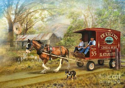 Shire Horse Digital Art - Rural Deliveries by Trudi Simmonds