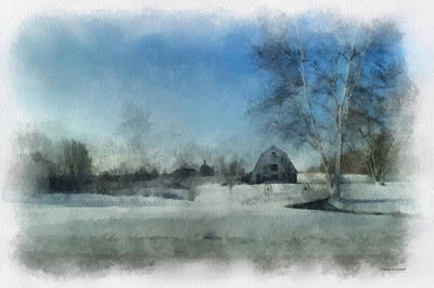 Illinois Farm Land Photograph - Rural Il Winter Time Around The Barn Photo Art 01 by Thomas Woolworth