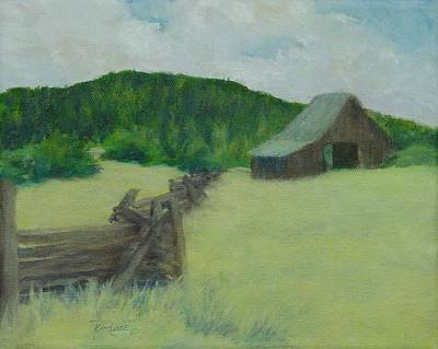 K Joann Russell Painting - Rural Landscape Colorful Oil Painting Barn Fence by Elizabeth Sawyer