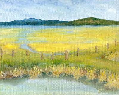 Painting - Rural Landscape Original Oil Painting Oregon Water Fields By K. Joann Russell by Elizabeth Sawyer