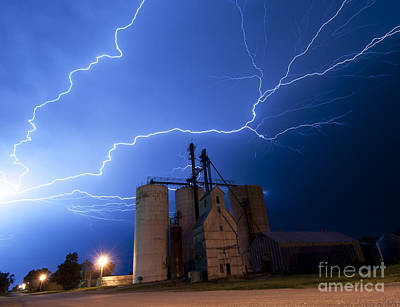 Rural Lightning Storm Art Print by Art Whitton