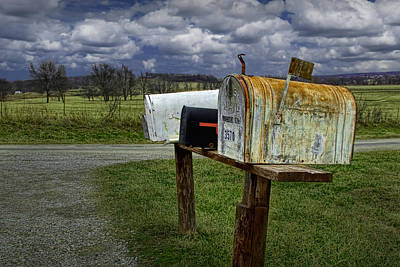 Mail Box Photograph - Rural Mailboxes Along A Country Road by Randall Nyhof