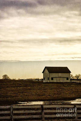 Rural Old Barn Behind Fence Art Print