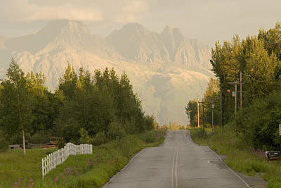 Rural Road Leading To View Of Chugach Art Print by Doug Demarest