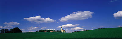 Pasture Scenes Photograph - Rural Scene With Church, Near by Panoramic Images